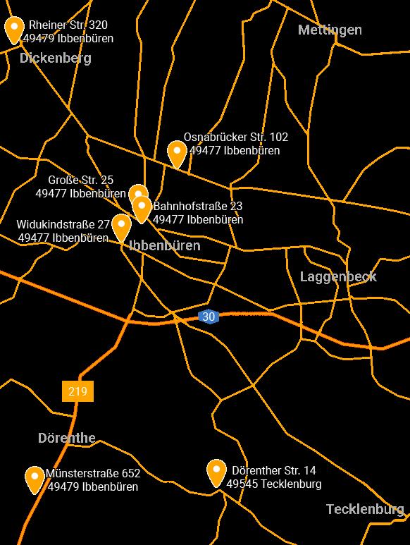 Ibbenbüren's Schlemmerback Standorte